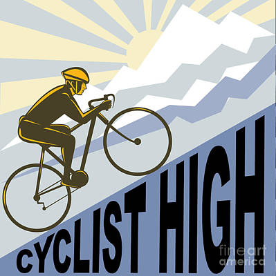 Cyclist Racing Bike Poster