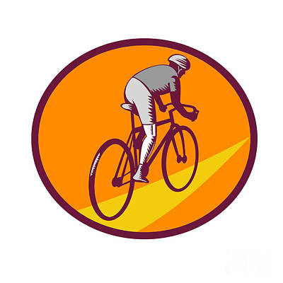 Cyclist Riding Bicycle Cycling Oval Woodcut Poster by Aloysius Patrimonio