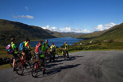 Cyclists Above Lough Nafooey, Shot Poster by Panoramic Images