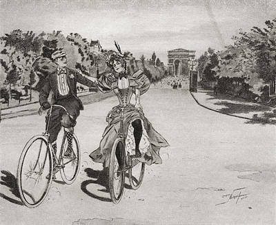Cyclists On The Way To The Bois Du Poster by Vintage Design Pics
