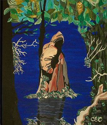 Poster featuring the painting Cypress Knee by Carolyn Cable