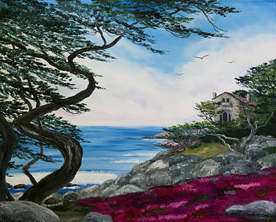 Cypress Tree At Carmel Poster by Laura Iverson