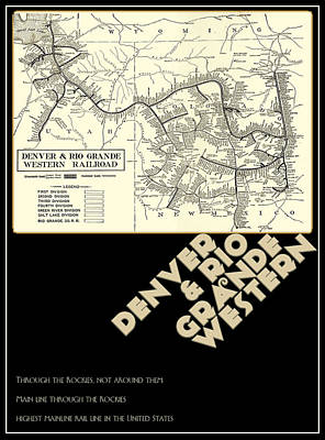 D And R.g.w. Rail Map Of Colorado And Utah Poster