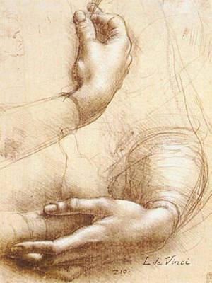 Da Vinci Study Of Hands Poster