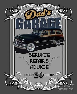 Dad's Garage With Pontiac Poster by Paul Kuras