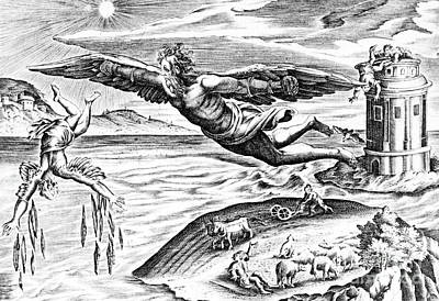 Daedalus Escaping From Crete With His Son, Icarus, Sees Him Falling To His Death Poster by French School