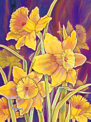 Poster featuring the mixed media Daffodils by Teresa Ascone
