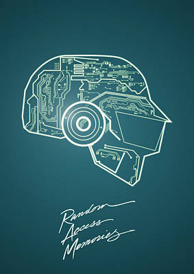 Daft Punk Thomas Poster Random Access Memories Digital Illustration Print Poster by Lautstarke Studio