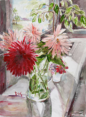 Poster featuring the painting Dahlias by Becky Kim