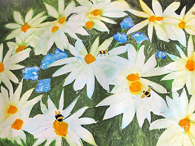 Daisies And Bumblebees Poster