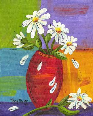 Daisies In A Red Vase Poster