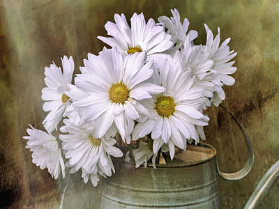 Poster featuring the photograph Daisies In Antique Watering Can by Bellesouth Studio