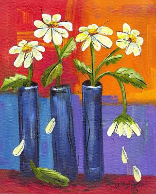 Daisies In Blue Vases Poster by Terry Taylor