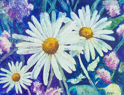 Poster featuring the painting Daisies by Susan DeLain