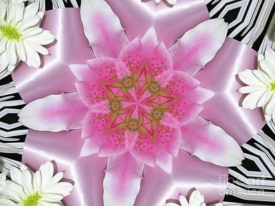 Daisy Asiatic Lily Satin Ribbon Mandala Poster