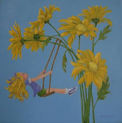 Poster featuring the painting Daisy Days by Karen Ilari