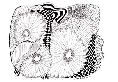 Daisy Zentangle Poster by Lou Belcher