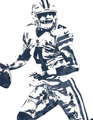 Dak Prescott Dallas Cowboys Pixel Art 3 Poster by Joe Hamilton