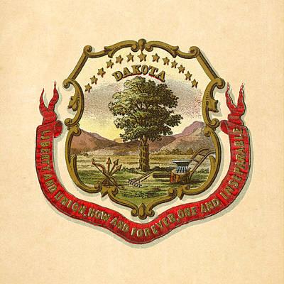 Dakota Territory Historical Coat Of Arms Circa 1876 Poster by Serge Averbukh