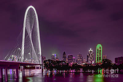 Dallas Lights Reflected Into Overcast Night Skies Poster