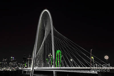 Dallas Nightscape With Green Poster