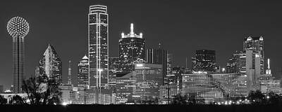 Dallas Panoramic In Black And White Poster by Frozen in Time Fine Art Photography