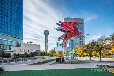 Dallas Neon Red Pegasus Poster by Tod and Cynthia Grubbs