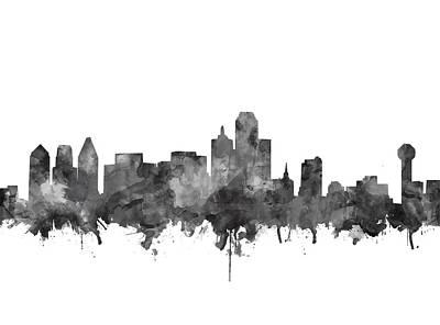 Dallas Skyline Black And White Poster