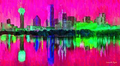 Dallas Skyline 5 - Pa Poster by Leonardo Digenio