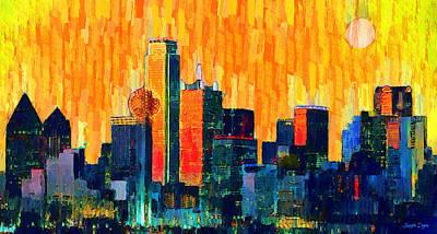 Dallas Skyline 66 - Pa Poster by Leonardo Digenio