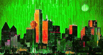 Dallas Skyline 67 - Pa Poster by Leonardo Digenio