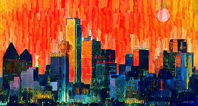 Dallas Skyline 68 - Da Poster by Leonardo Digenio