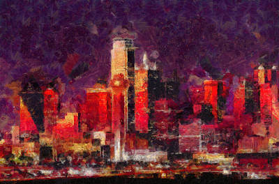 Dallas Skyline Art - Colorful Modern Painting Poster by Wall Art Prints