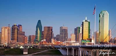 Dallas Skyline At Dusk, Color Poster