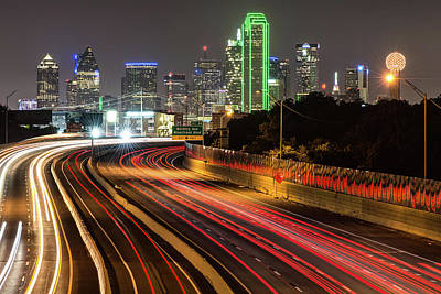 Poster featuring the photograph Dallas Skyline At Night by Gregory Ballos