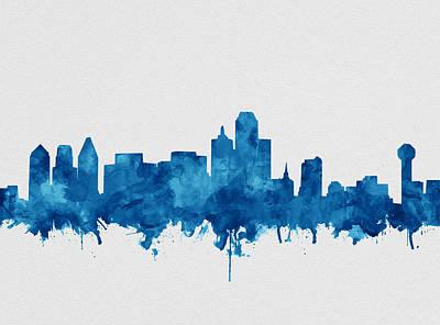 Dallas Skyline Blue Poster