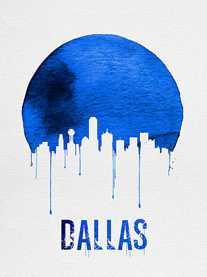 Dallas Skyline Blue Poster by Naxart Studio