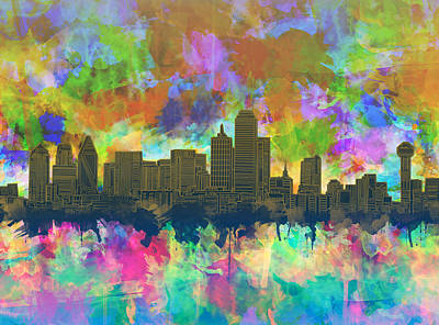 Dallas Skyline Brush Strokes 2 Poster