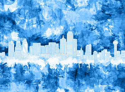 Dallas Skyline Brush Strokes Blue Poster