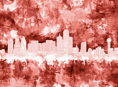Dallas Skyline Brush Strokes Red Poster
