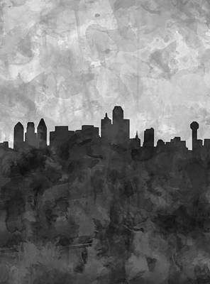 Dallas Skyline Grunge Black And White Poster