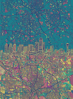 Dallas Skyline Map Green Poster by Bekim Art