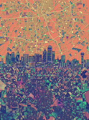 Dallas Skyline Map Orange Poster
