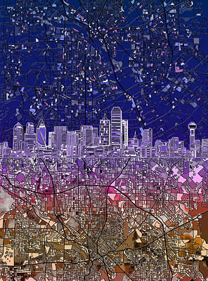 Dallas Skyline Map Purple 2 Poster