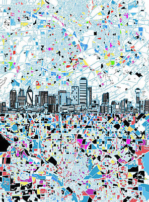 Dallas Skyline Map White Poster