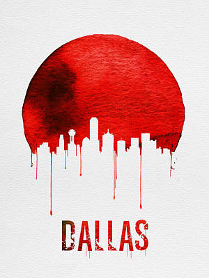 Dallas Skyline Red Poster by Naxart Studio