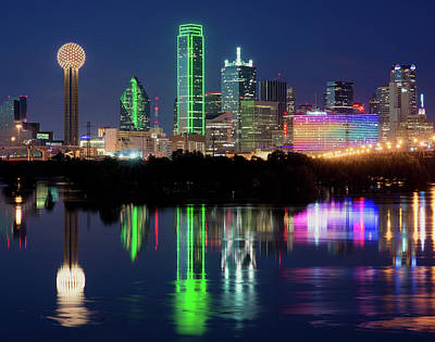 Dallas Skyline Reflection 91317 Poster
