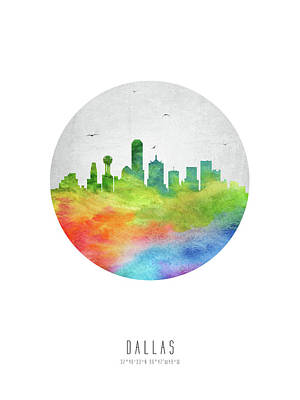 Dallas Skyline Ustxda20 Poster by Aged Pixel
