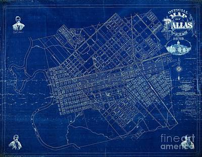 Dallas Texas Official 1875 City Map Blueprint Butterfield And Rundlett Poster