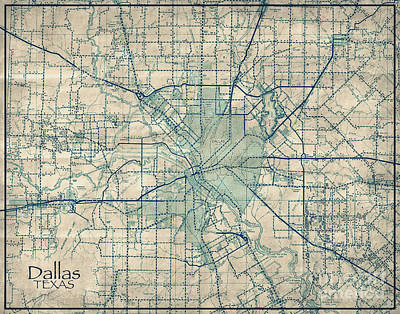 Dallas Texas Vintage Antique City Map Poster